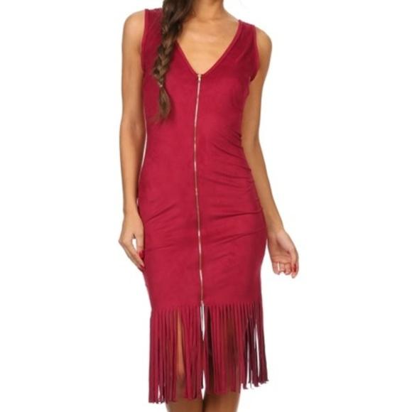 Dresses & Skirts - faux suede fringe dress